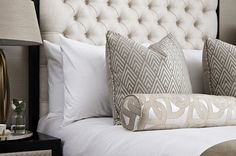 bedroom cushions bed pillows bedroom design decor How to create a glamorous and sophisticated interior : elegant luxurious stunning and sophisticated chic interiors: bedroom design Grey Bedding, Dorm Bedding, Linen Bedding, Bed Linens, Comforter, Modern Bedding, Bed Linen Sets, Bed Sets, Bedroom Cushions