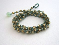 Boho Wrap Bracelet Gold & Mint Green Knotted by KrystenDesign, $45.00