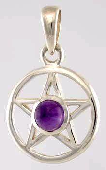 Amethyst Sterling Silver Pentagram Pendant