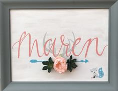 Baby shower gift for a friend! A Goodwill Store framed canvas got a makeover with acrylic paints and added artificial florals!