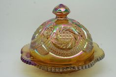 VINTAGE MARIGOLD CARNIVAL GLASS L.E. SMITH PINWHEEL COVERED BUTTER DISH