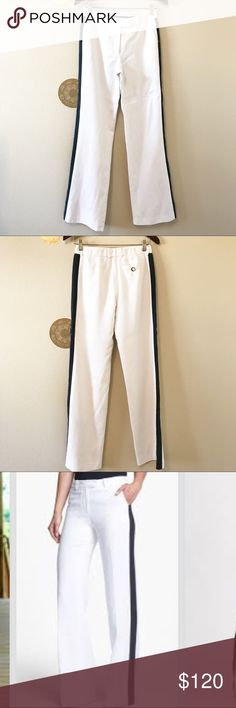 """Rachel Zoe Jett Tuxedo Stripe Wide Leg Pants In great condition, freshly dry cleaned. Measures approx:  Waist 30"""" Inseam 34.5""""  Length 43""""  Front rise 9"""" Leg width 10.5"""" Flowy pants offer chic, trend-right style with an ivory silhouette traced in bold black tuxedo stripes. 35"""" inseam; 9 1/2"""" front rise. Zip fly with hook-and-bar closure; interior anchor button. Front slant pockets; back button-and-loop welt pocket. Tencel® lyocell/cotton; dry clean. Rachel Zoe Pants Wide Leg"""