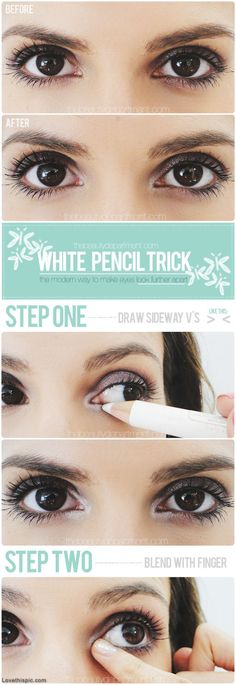 I use white eye shadow instead of white pencil! it really works and makes your eyes pop