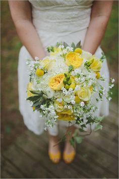 Editor's Picks: Brilliant Yellow Wedding Ideas Full of Cheer - bridal bouquet; With Love & Embers via Wedding Chicks