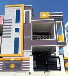 new ideas house plans duplex front elevation House Front Wall Design, Duplex House Design, House Wall, Small House Design, Building Elevation, House Elevation, House Paint Exterior, Exterior Design, Indian House Plans