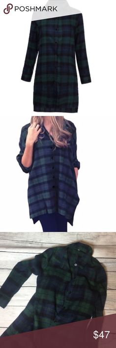 🆕Beautiful plaid button down 💙 Oversized tunic. Black and green plaid shirt. Made out of cotton and polyester material. Super soft and very comfortable. Has side pockets and slits on sides of shirts. They are displayed In the pictures shown above 💚 Dorimas Closet Tops Button Down Shirts