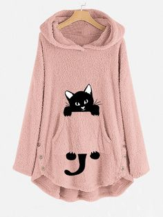 Funny Cat Pocket Overhead Fleece Hoodies can show the feminine elegance well, get best women Hoodies & Sweatshirts online. Site Mode, Pullover Outfit, Vetement Fashion, Casual Party, Fleece Hoodie, Gender Female, Pulls, Types Of Sleeves, Fashion Outfits