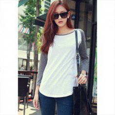 $7.09 Comfortable Matching Color Scoop Neck Long Sleeves Cotton Blend T-Shirt For Women