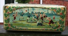 Superb early 20th century French tin with a Rugby theme by Tinternet
