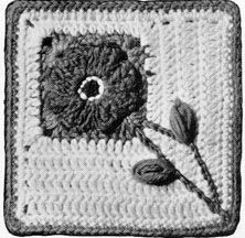 """Pennsylvania Dutch Pattern (96squares, joined so stems are the radiant center of a 4 block)... Background White; Blue""""flower; Red: leaves, stem, flower border and trim ... picture of finished Afgan on website with pattern"""