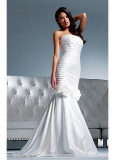 ELEGANT TAFFETA STRAPLESS NECKLINE 2 IN 1 WEDDING DRESSES WITH HANDMADE FLOWERS LACE BRIDESMAID PARTY COCKTAIL GOWN