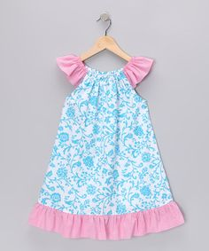 Take a look at this Blue & Pink Floral Angel-Sleeve Dress - Infant, Toddler & Girls by Petite Palace on #zulily today!