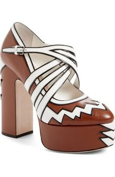 6ab91dfb01a Miu Miu Platform Pump (Women) available at  Nordstrom Brown Leather Shoes