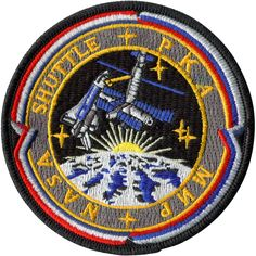 Space Shuttle MIR Shuttle Program - An essential first step towards the International Space Station, this program had seven long duration missions with US astronauts and 9 Shuttle missions to the MIR. Space Patch, Nasa Patch, Space Debris, Asteroid Belt, Planets And Moons, Greek And Roman Mythology, Sunflower Wallpaper, International Space Station, Space And Astronomy