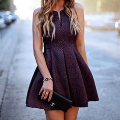 purple snakeskin fit & flare