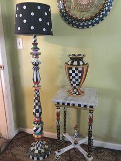 My Own Hand Painted Whimsical Floor Lamp And Mackenzie Childs Napkins #MacKenzieChilds