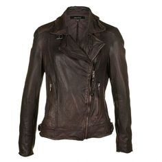 Muubaa Womens Quinn Brown Leather Jacket (€230) ❤ liked on Polyvore featuring outerwear, jackets, leather jackets, coats, rider leather jacket, brown motorcycle jacket, real leather jackets and leather moto jackets