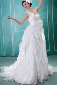 Organza A-Line White Wedding Gown