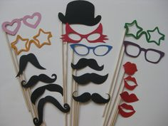 photo booth props or things perfect for a moustache party.