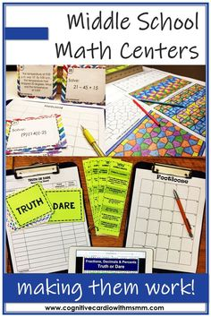 Could you use some new ideas for math centers in middle school or upper elementary Middle School Literacy, Middle School Activities, Education Middle School, Math Activities, Math Resources, Sixth Grade Math, 7th Grade Math Games, Ninth Grade, Guided Math Groups