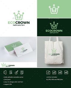 Eco Crown logo Template PSD, Vector EPS, AI Illustrator