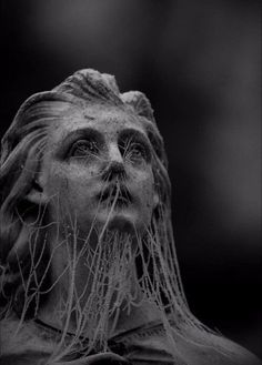 old girl angel Statue bust cobweb web look sad sadness mood dram drama fantasia dark blackandwhite black white black_whit black_and_white blackgirlmagic blackpink pic blackpicture 🖤 Art Noir, Arte Obscura, Cemetery Art, Cemetery Statues, Slytherin Aesthetic, Photocollage, Dark Photography, Abstract Photography, Macabre