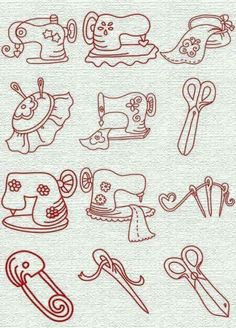 Dibujos instrumentos costura