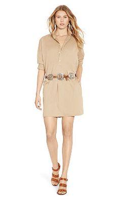 Cotton Twill Shirtdress - Polo Ralph Lauren Short - RalphLauren.com
