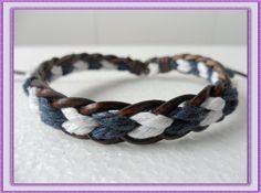 bangle girl bracelet women bracelet With Brown Leather Multicolour Cotton Ropes Woven bracelet Cuff  1SZ-LH-087. $3.00, via Etsy.