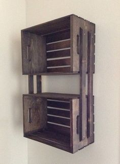 SALE Brown Wooden Crate Hanging 3 Shelf Wall Fixture- Great for Bookcase, DVD's, Storage, Bathroom, Outdoors - Large Size