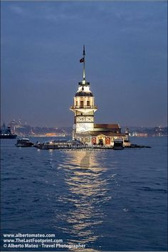 Kiz Kulesi Tower (The Maiden Tower) in the middle of Bosphorus channel at dusk, Uskudar, Istanbul, Turkey. Places Around The World, Around The Worlds, Turkey Travel, His Travel, Travel Abroad, Travel Photographer, Photographic Prints, Dusk, Scenery