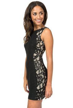 e04c22af8 Sleeveless Glitter Bubble Knit Side and Back Illusion Dress | Black/Nude -  1/2 / Black/Nude. Teeze Me ...