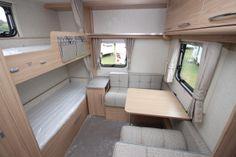 Coachman Vision 570 6 Berth Caravan 2014 Model Image Bunk Beds Uk, 6 Berth Caravan, Caravans For Sale, Motor Homes, New Adventures, Corner Desk, Create, Building, Board