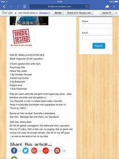 Cupcake Cakes, Cupcakes, Afrikaans, Names, Recipes, Food, Recipies, Essen, Meals