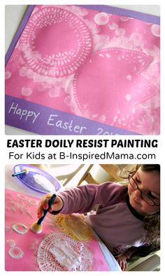Simple Easter Doily Resist Painting for Kids at B-Inspired Mama  #kids #Easter #kidsart #binspiredmama #kbn