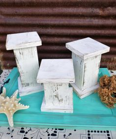 Rustic Farmhouse Wooden Candle Holders, Shabby Chic Candle Holders, Candle Stands, Set of 3 White or Light Turquoise
