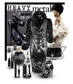 """Heavy Metal - Metallic Dress"" by giovanina-001 ❤ liked on Polyvore featuring Gina Bacconi, Boohoo, Torrid, Alexander McQueen, Givenchy, Marc Jacobs and MAKE UP FOR EVER"