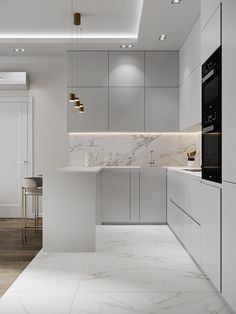 Apartment in Moscow on Behance Kitchen Room Design, Luxury Kitchen Design, Kitchen Cabinet Design, Interior Design Kitchen, Home Decor Kitchen, Small Apartment Interior Design, Modern Kitchen Interiors, Contemporary Kitchen Design, Contemporary Bedroom
