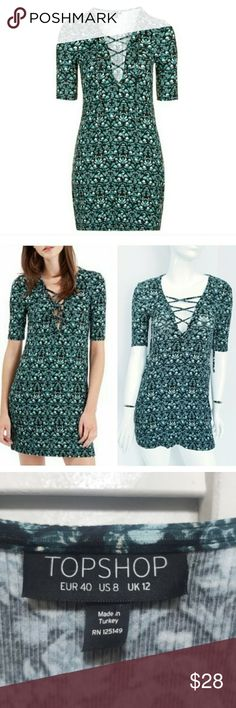 af8f77cf980 Topshop lace up tunic dress Topshop lace-front tunic bodycon dress. Soft  ribbed Jersey