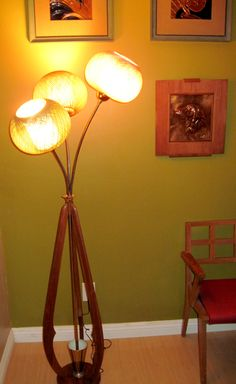 LarsErik - Three headed floor lamp with woven globes