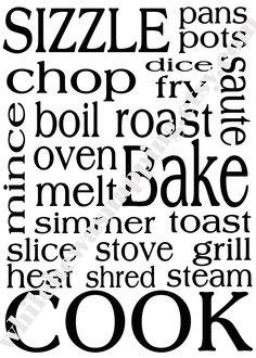 kitchen subway art idea, #cricut #word collage#diy