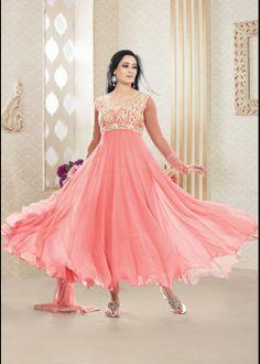 Buy Shweta Tiwari Designer Anarkali Salwar Suit In Pink US$ 73.57 . Shop online - bollywood-ankle-length-anarkali.blogspot.co.uk/2014/04/buy-shweta-tiwari-designer-anarkali.html