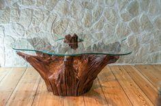 Root table by NaturalDesignBerlin on Etsy Tree Stump Furniture, Live Edge Furniture, Log Furniture, Unique Furniture, Driftwood Table, Driftwood Furniture, Root Table, Wood Table Design, Stump Table
