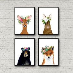 Animal print set, Set of 4 Prints, rabbit , bear, fox, deer, woodland nursery set, nursery print set, animal posters, wall art, woodland