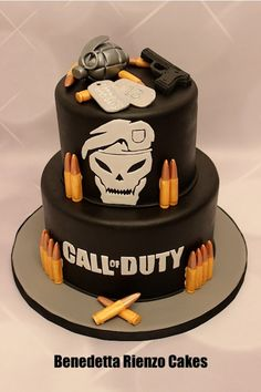 Call of Duty Black Ops theme cake. Molded bullets and gun. Grenade hand modeled from gumpaste. Marble cake filled with cookies and cream swiss meringue buttercream. Black Ops Cake, Army Birthday Cakes, Call Of Duty Cakes, Bolo Fack, Cod Cakes, Video Game Cakes, Grenade, Call Of Duty Black, Cakes For Boys