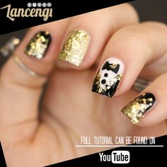 DIY Easy Nail Art Designs For Beginners - NYE Party Nails Perfect for new Years , Prom, or any time you feel like like adding sparkle and glam! Simple Nail Art Designs, Best Nail Art Designs, Colorful Nail Designs, Easy Nail Art, New Years Nail Art, New Years Eve Nails, Ongles Bling Bling, Bling Nails, New Year's Nails