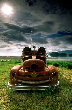 ♂ Aged with beauty abandoned Rusty Fire Truck by printscapes
