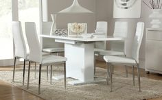 Axara Extending Small Dining Table White Gloss And White Chair - White kitchen table and 6 chairs