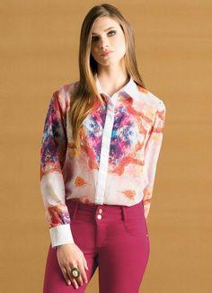 Camisa de botões em chiffon