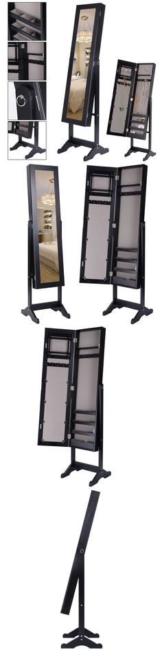 Jewelry Boxes 3820 Wall Mount Mirror Jewelry Armoire Wood Cabinet
